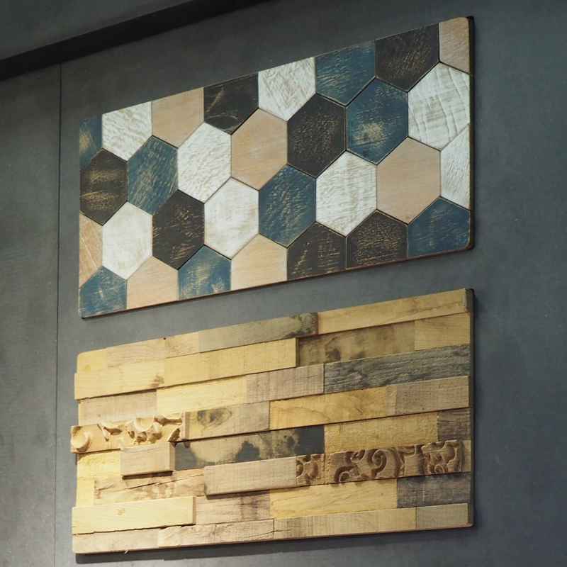 Holz Waidelich wandpaneele hexagon blauweissgrau 3d altholzwand